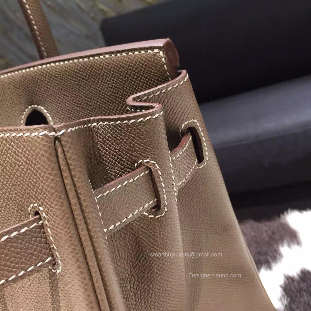 fee8306d1966 Hermes Birkin 35 Bag Etoupe Epsom Leather Handstitched Silver hw -