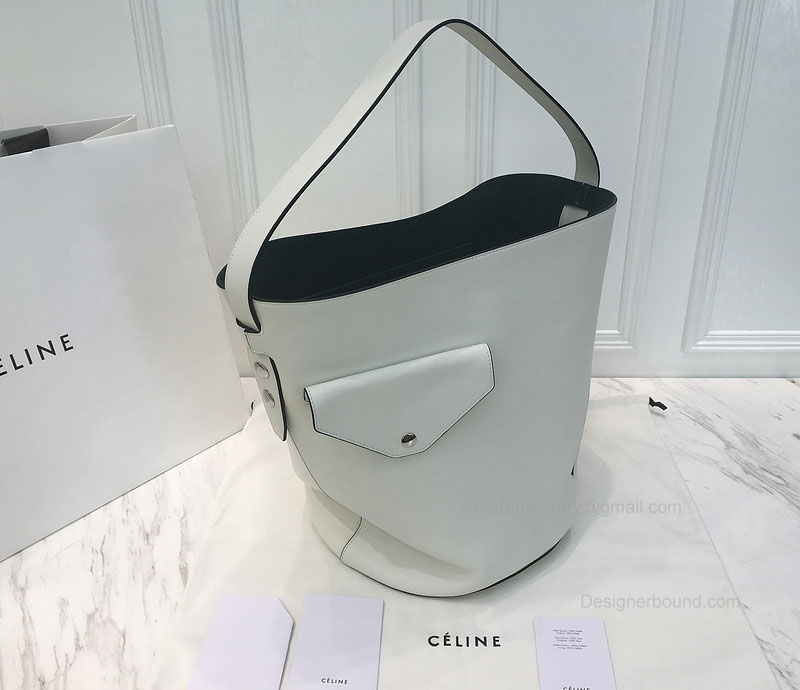 bcc664739e57 Celine Bucket Biker Shoulder Bag in White and Dark Grean Natural Calfskin -