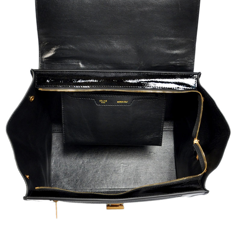 Celine Trapeze In Suede Black with Patent Leather 1191 ...