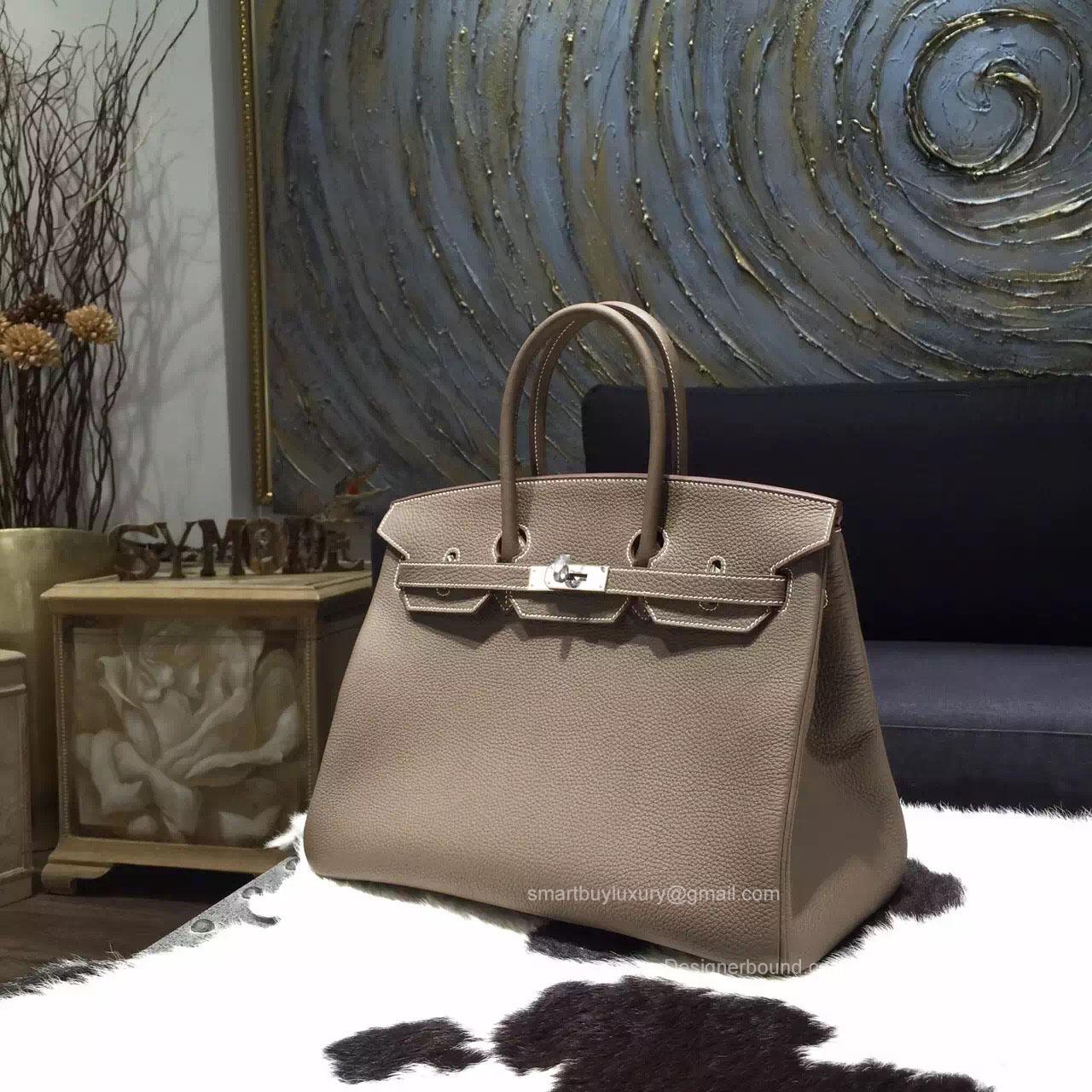 50a53876d9fb SKU   583087. Hermes Birkin 35 cm Togo Bag Etoupe CK18 Handstitched ...