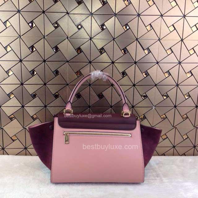 Fake Celine Trapeze Handbag Suede in Burgundy Calfskin - Replica ...