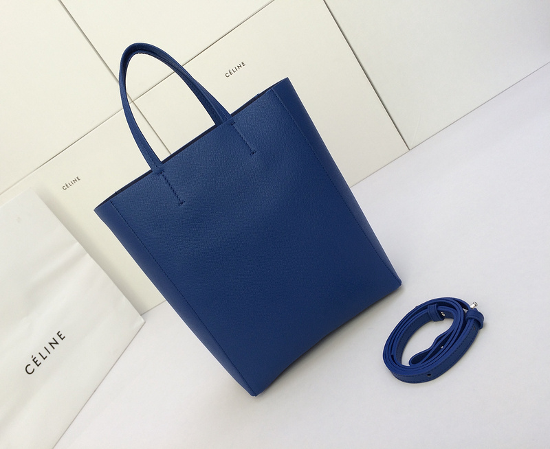 Celine 2015 Small Vertical Cabas Tote In Blue Grainy Calfskin -