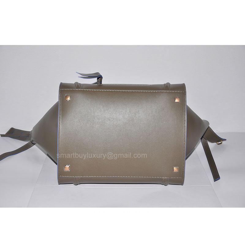 celine phantom gray rusl  Fake Celine Phantom Luggage Bag in Calfskin Gray with Blue Piping