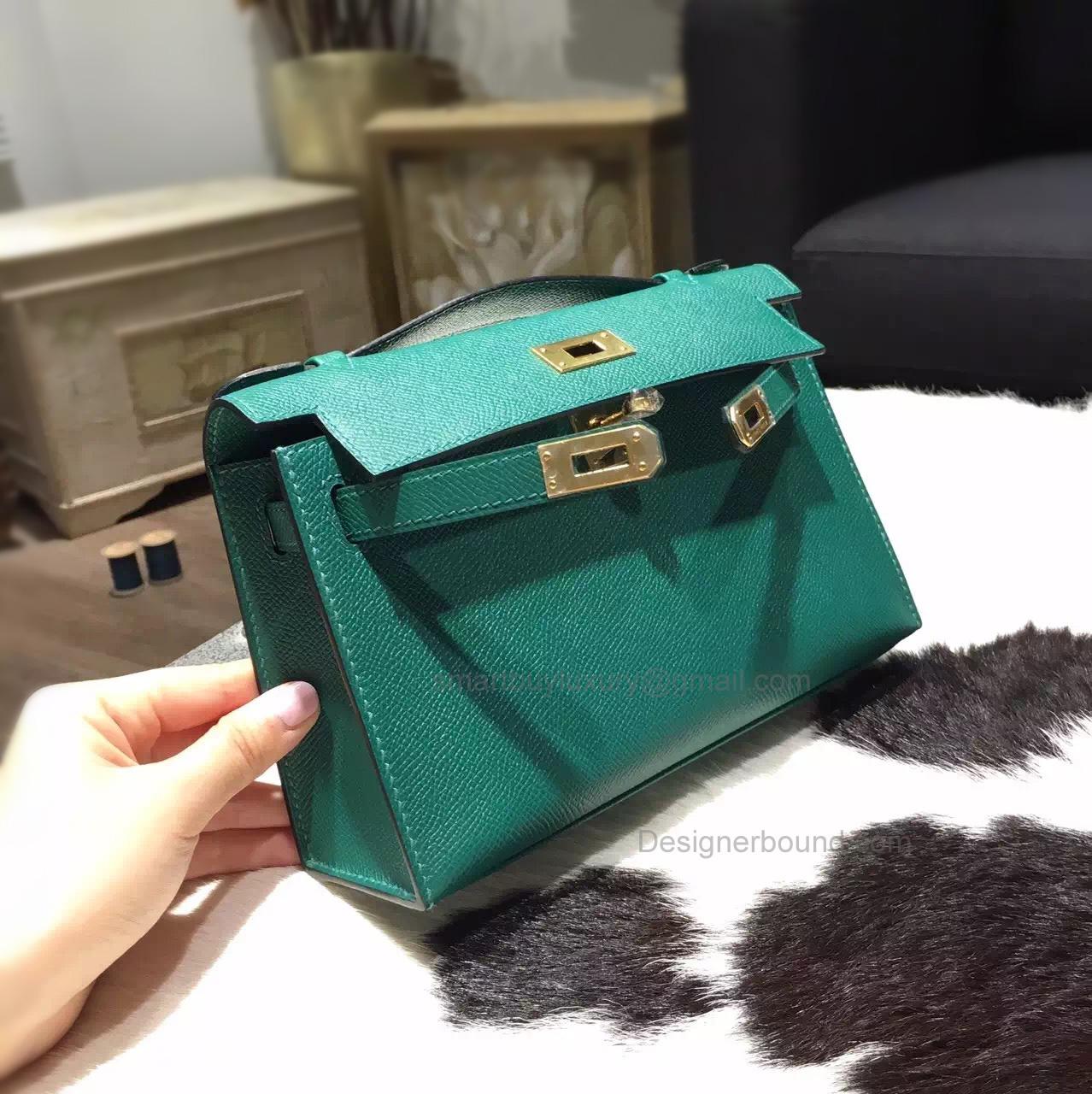 0c7ec99d3111 Handmade Hermes Mini Kelly 22 Pochette Bag in z6 Malachite Epsom Calfskin -