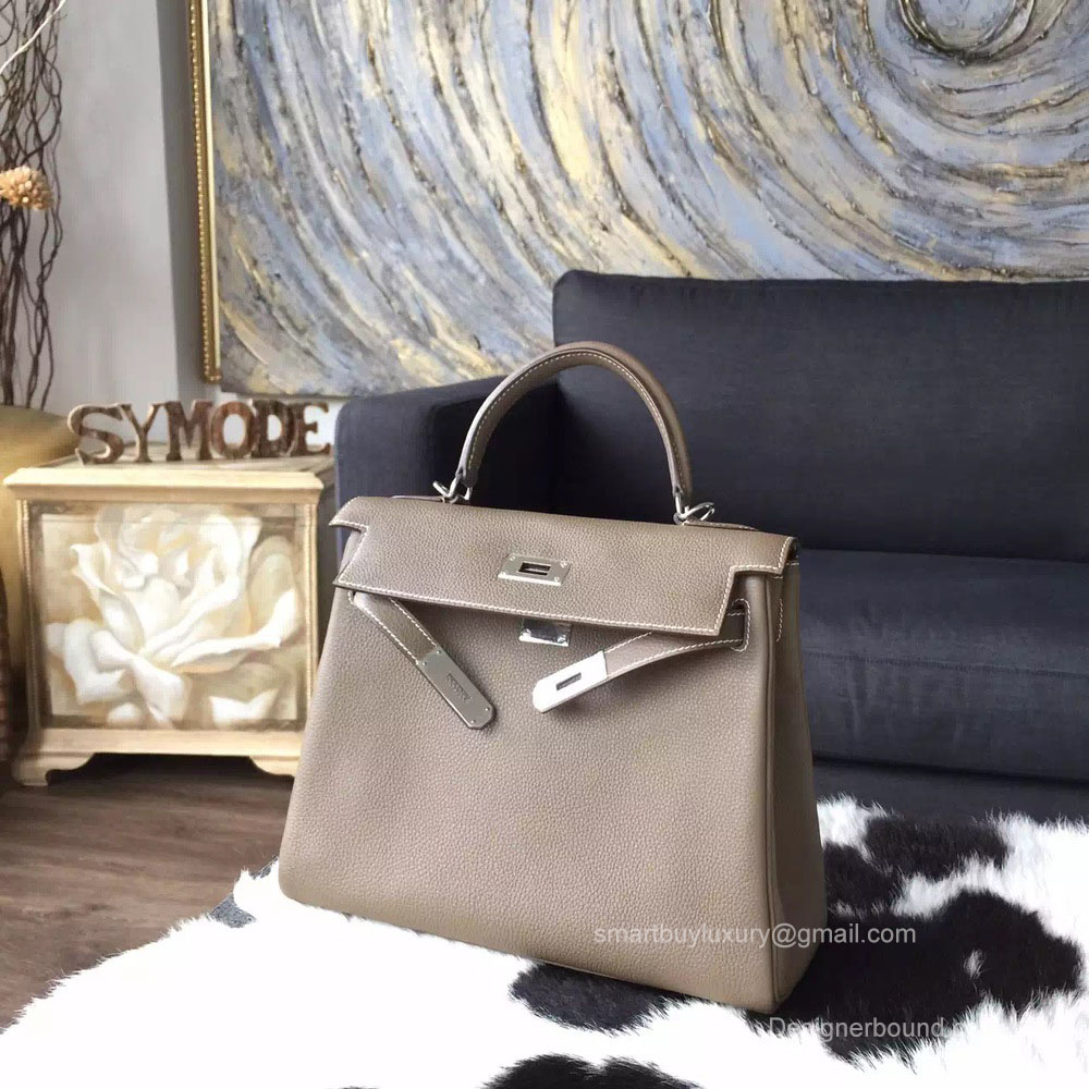 dba605c19c5d ... clearance hermes kelly 32 etoupe ck18 togo leather handstitched silver  hw 66783 e5b78