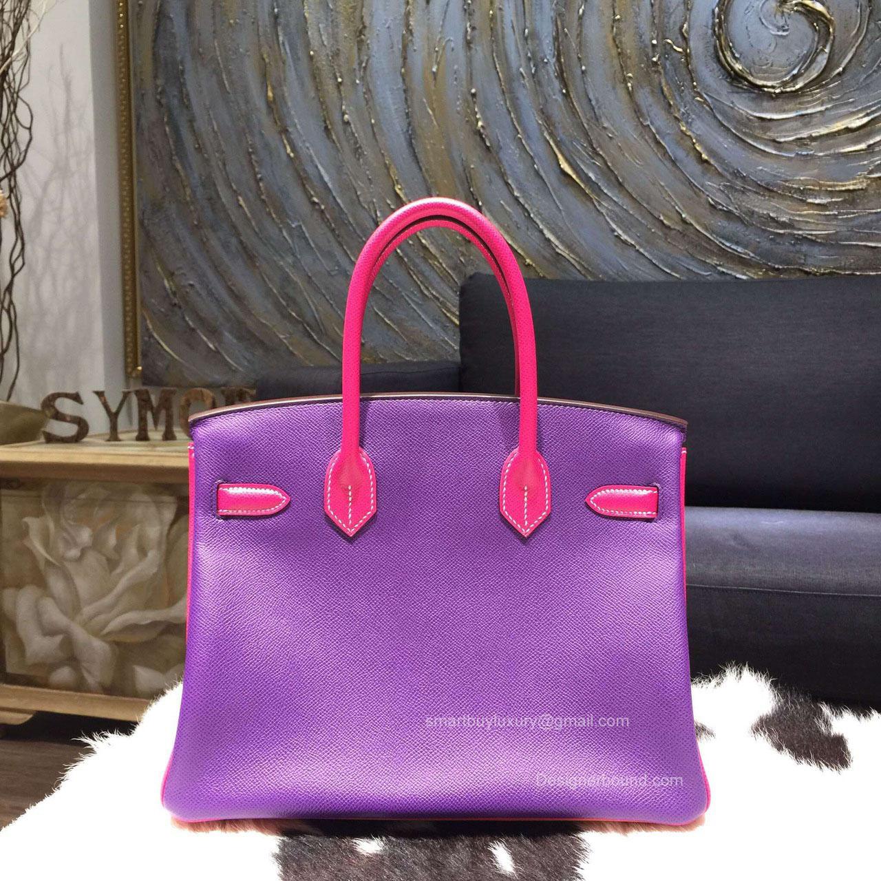 bac8c05408fb Hermes Birkin 30 Bag Tri-color Mango 9Z Epsom Leather Handstitched .
