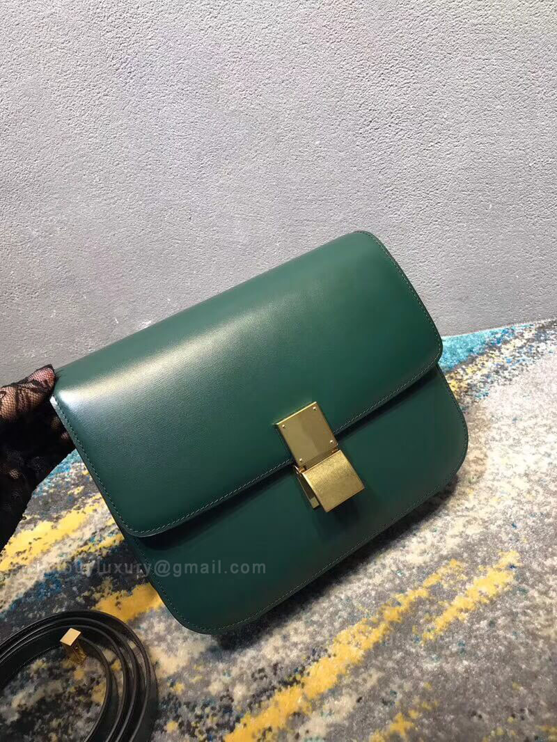 Celine Classic Box Bag Medium in Green Liege Calfskin
