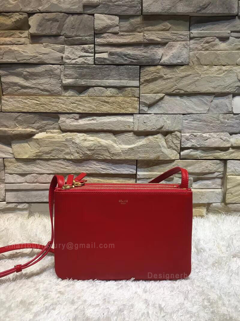 Celine Trio Bag in Red Smooth Lambskin