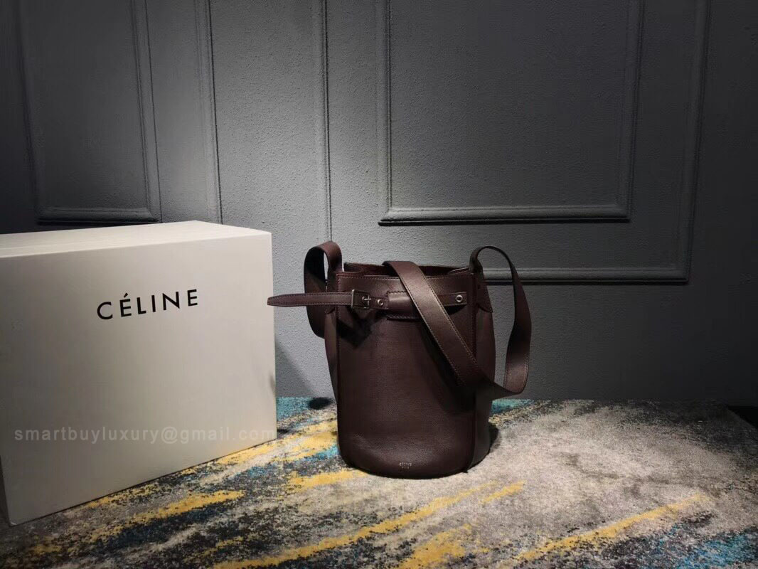 Celine Big Bag Bucket With Long Strap in Burgundy Soft Bare Calfskin