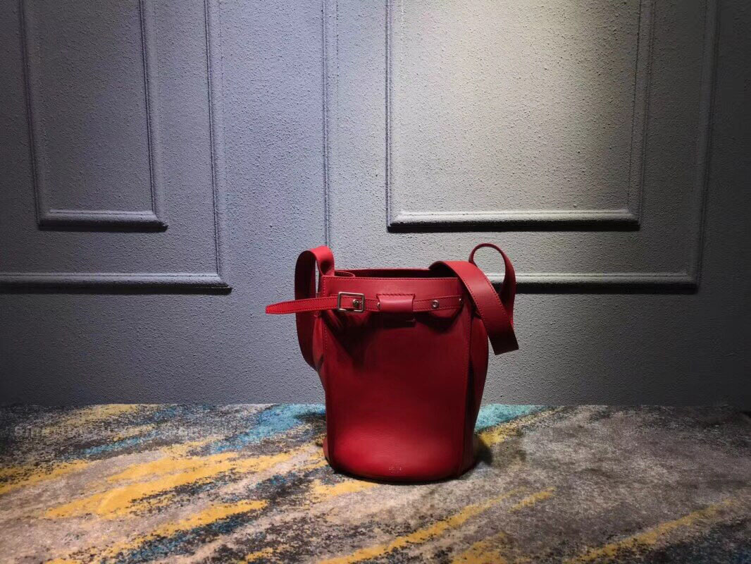 Celine Big Bag Bucket With Long Strap in Red Soft Bare Calfskin