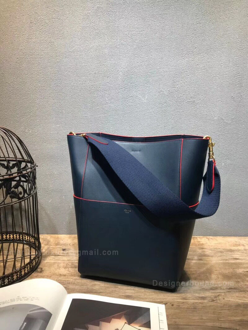 Celine Sangle Bucket Bag in Dark Navy Smooth Calfskin Red Piping