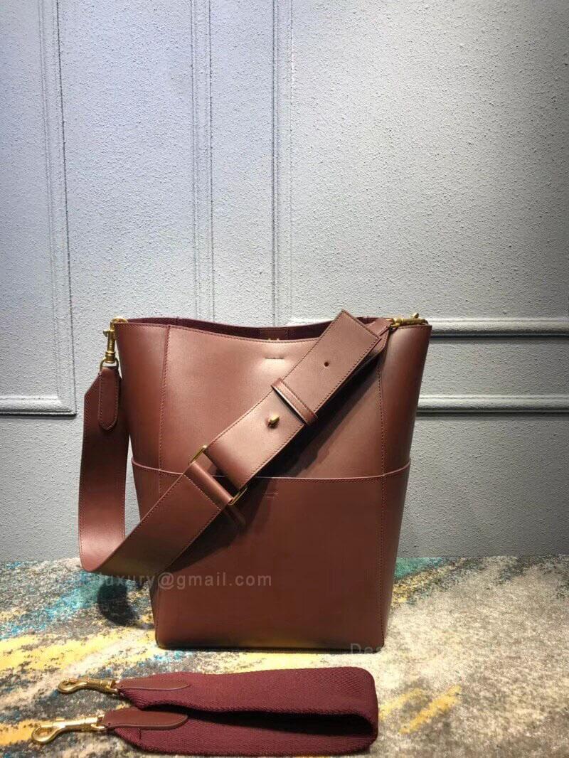 Celine Sangle Bucket Bag in Burgundy Smooth Calfskin - 90f556f3632f3