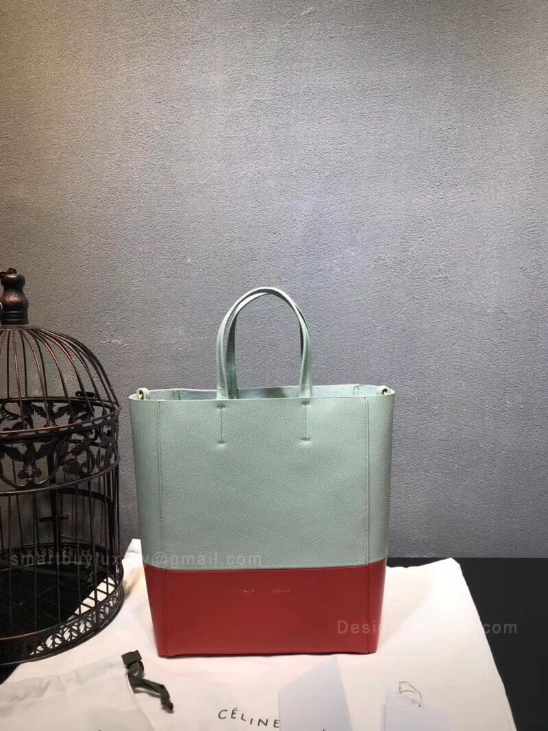 Celine Small Cabas in Pale Blue Bicolour Grained Calfskin