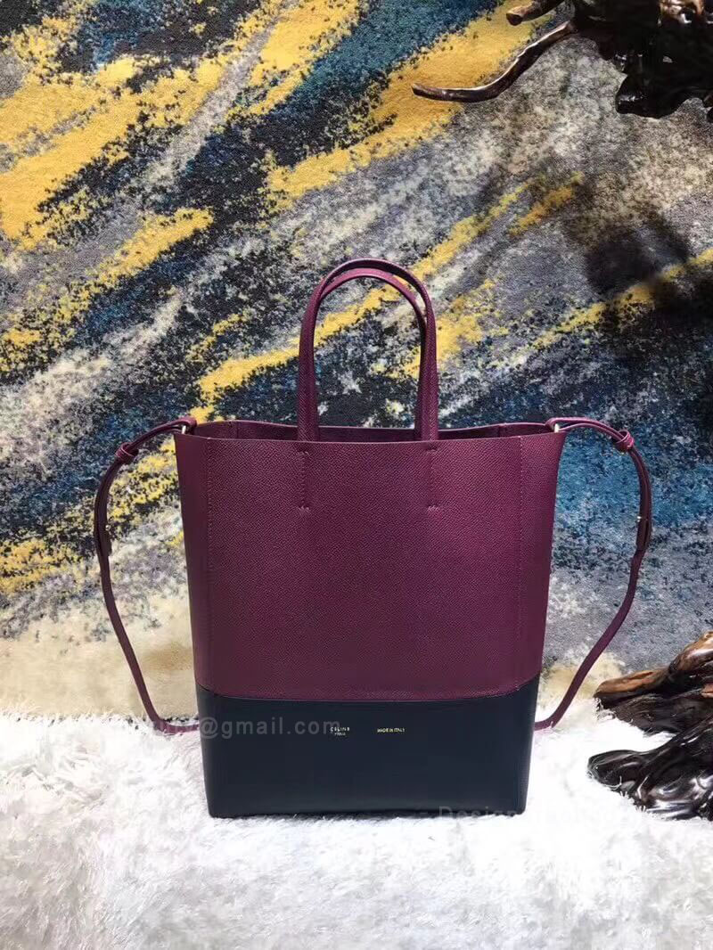 Celine Small Cabas in Burgundy Bicolour Grained Calfskin