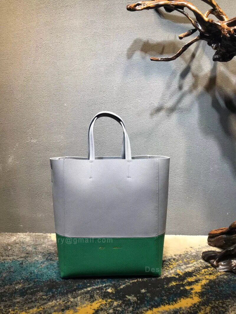 Celine Small Cabas in Gray Bicolour Grained Calfskin