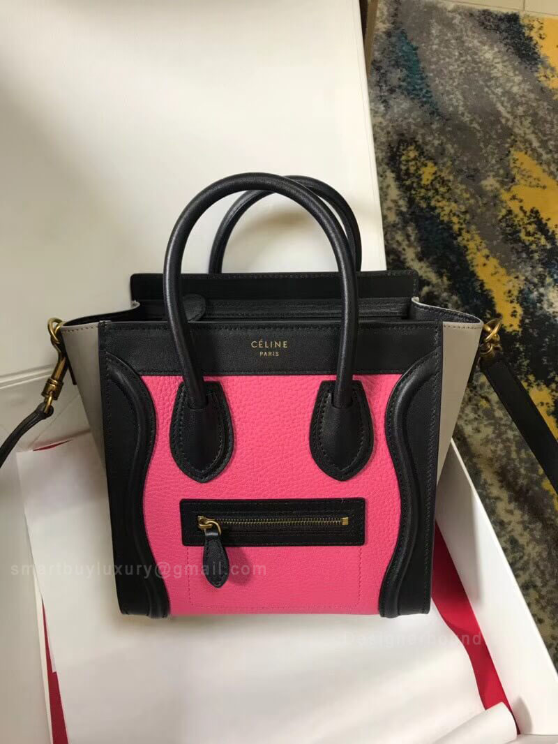 Celine Nano Luggage Handbag in Pink Multicolour Calfskin