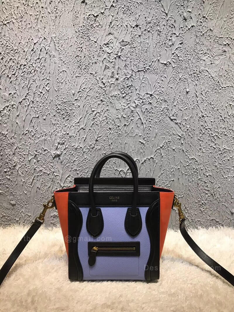 Celine Nano Luggage Handbag in Blue Multicolour Calfskin
