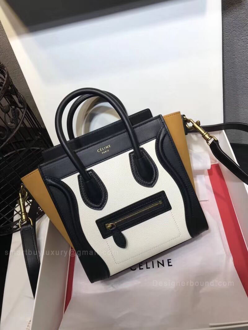 Celine Nano Luggage Handbag in White Multicolour Calfskin