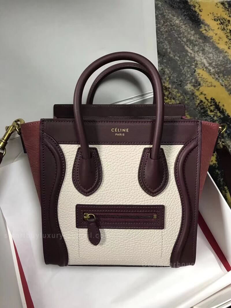 Celine Nano Luggage Handbag in Burgundy Multicolour Calfskin