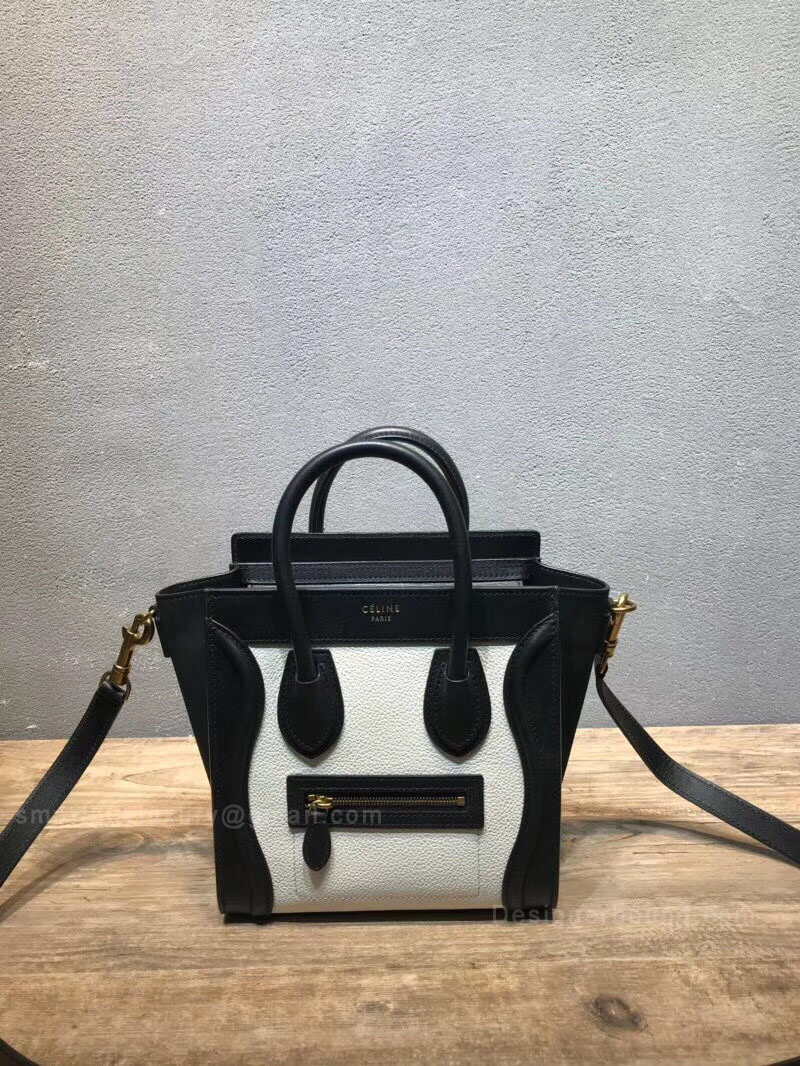 Celine Nano Luggage Handbag in Black and White Calfskin