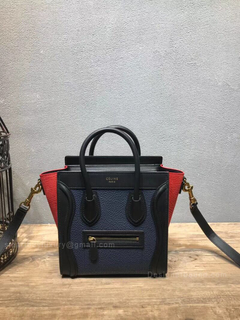 Celine Nano Luggage Handbag in Navy Multicolour Calfskin