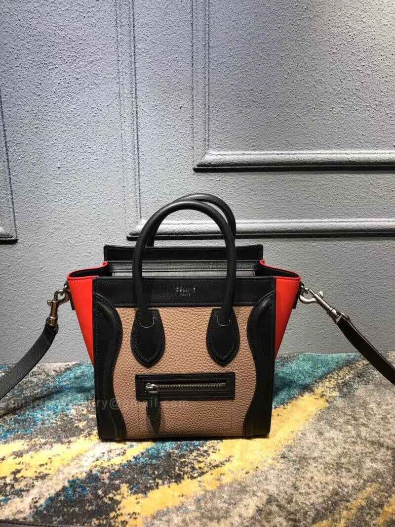 Celine Nano Luggage Handbag in Nude Multicolour Calfskin