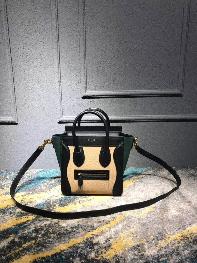 Celine Nano Luggage Handbag in Green Multicolor Calfskin