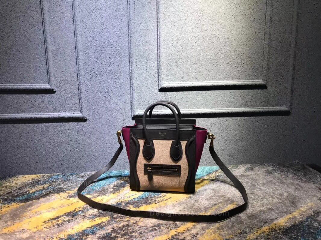Celine Nano Luggage Handbag in Fuschia Multicolour Calfskin