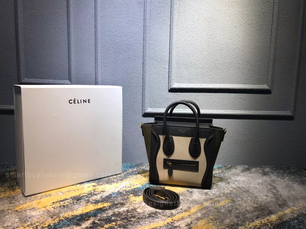 Celine Nano Luggage Handbag in Jungle Multicolour Calfskin