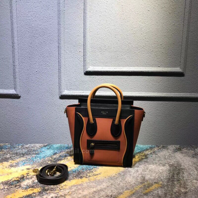 Celine Nano Luggage Handbag in Tawny Multicolour Calfskin
