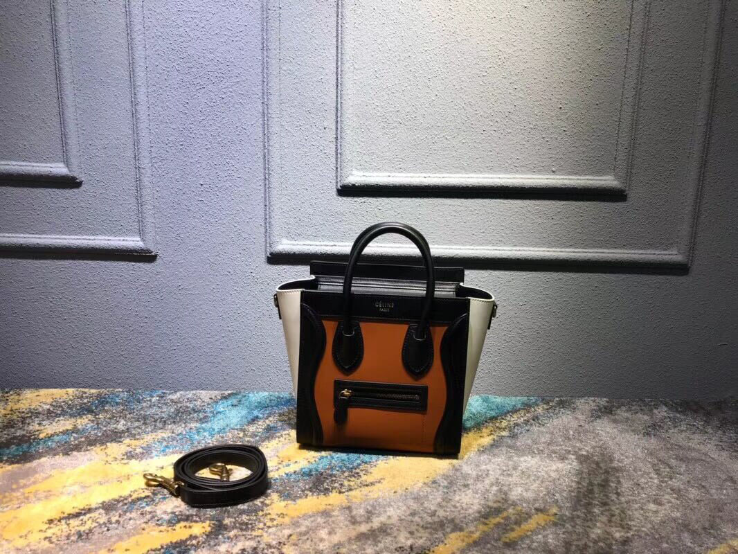Celine Nano Luggage Handbag in Tawny Multicolour Smooth Calfskin