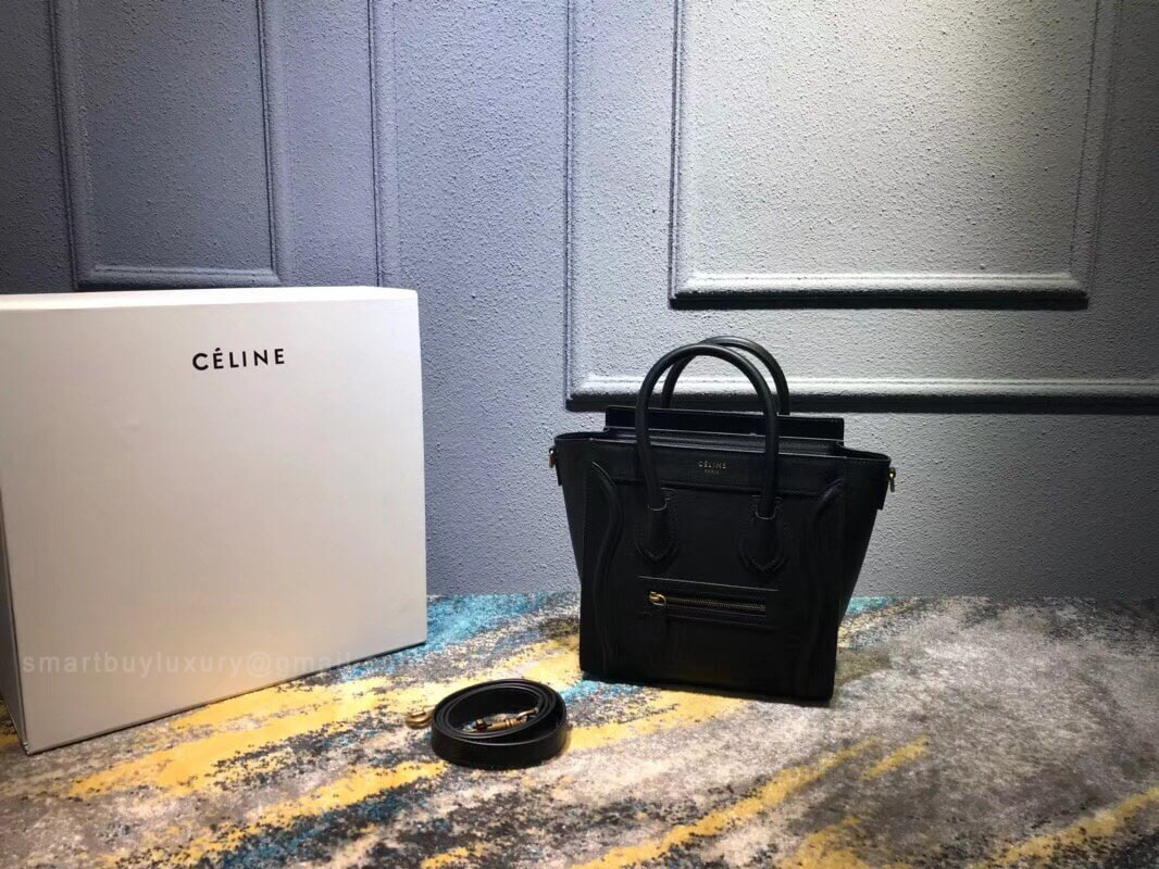 Celine Nano Luggage Handbag in Black Smooth Calfskin
