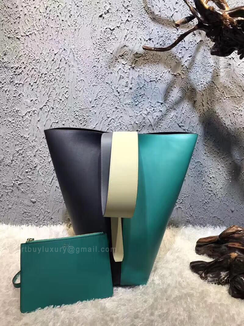 Celine Small Twisted Cabas Bag in Green Multicolour Calfskin