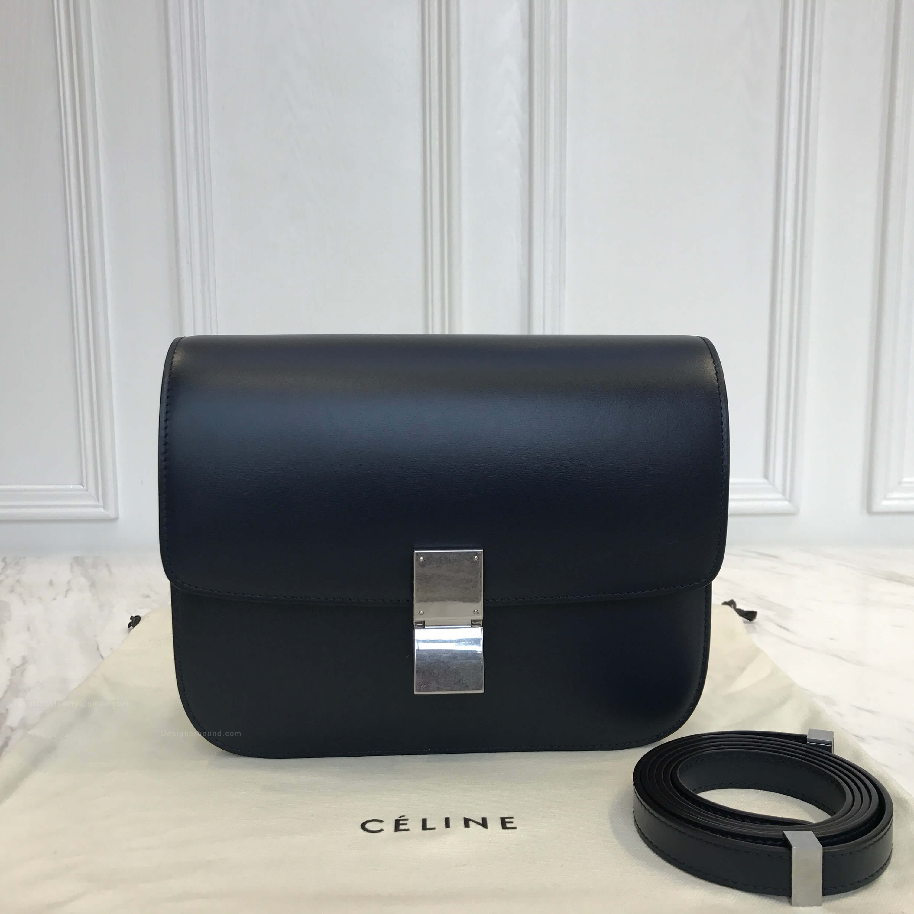 Celine Classic Box Bag Medium in Nuit Bicolored Liege Calfskin