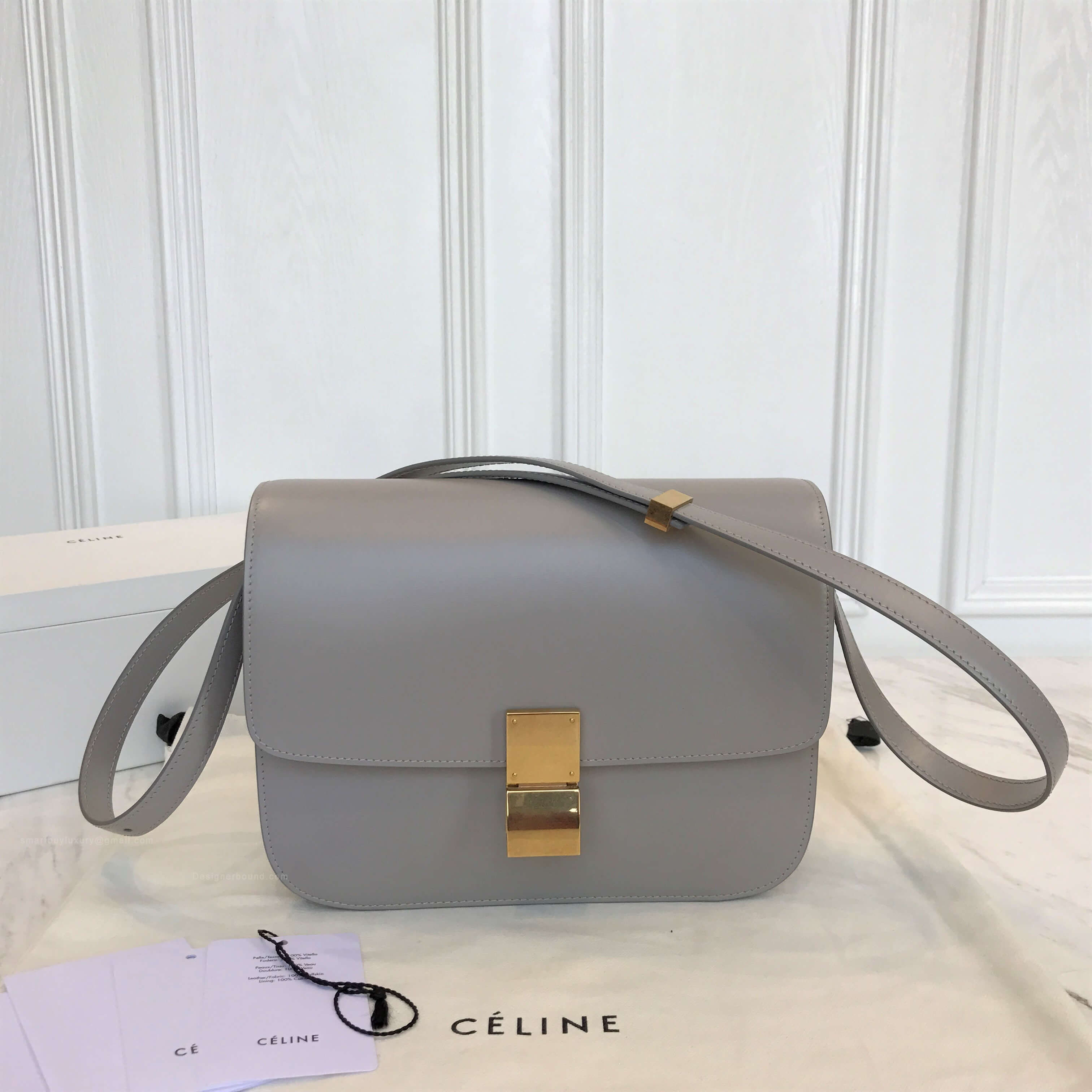 Celine Classic Box Bag Medium in Light Grey Liege Calfskin