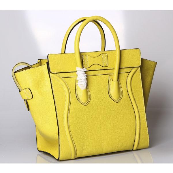 celine cabas phantom medium - Celine Luggage Mini in Lemon Grain Calfskin Lux 99133 - Replica Celine