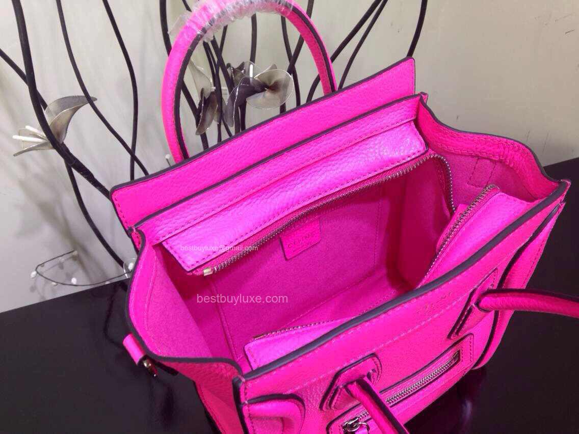 35551b77217b Celine Nano Luggage Handbag in Hot Pink Crisped Calfskin - Replica Celine