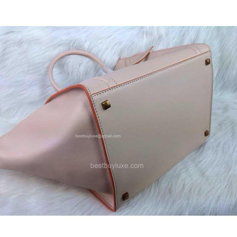 Celine Phantom Luggage Handbag in Calfskin Pale Pink with Orange ...