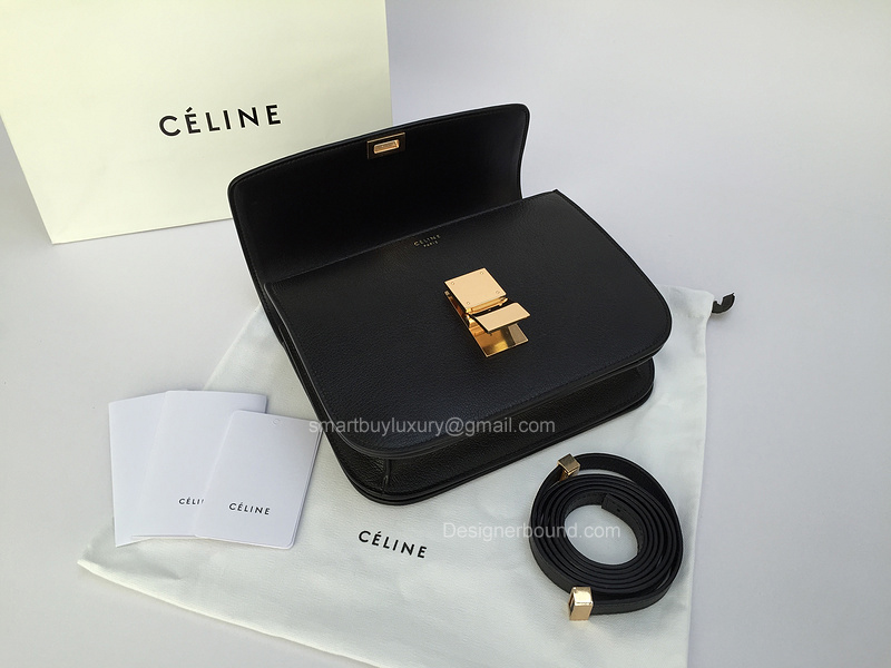 12c773b0eeca Celine Medium Classic Bag in Black Goatskin Best Replica -