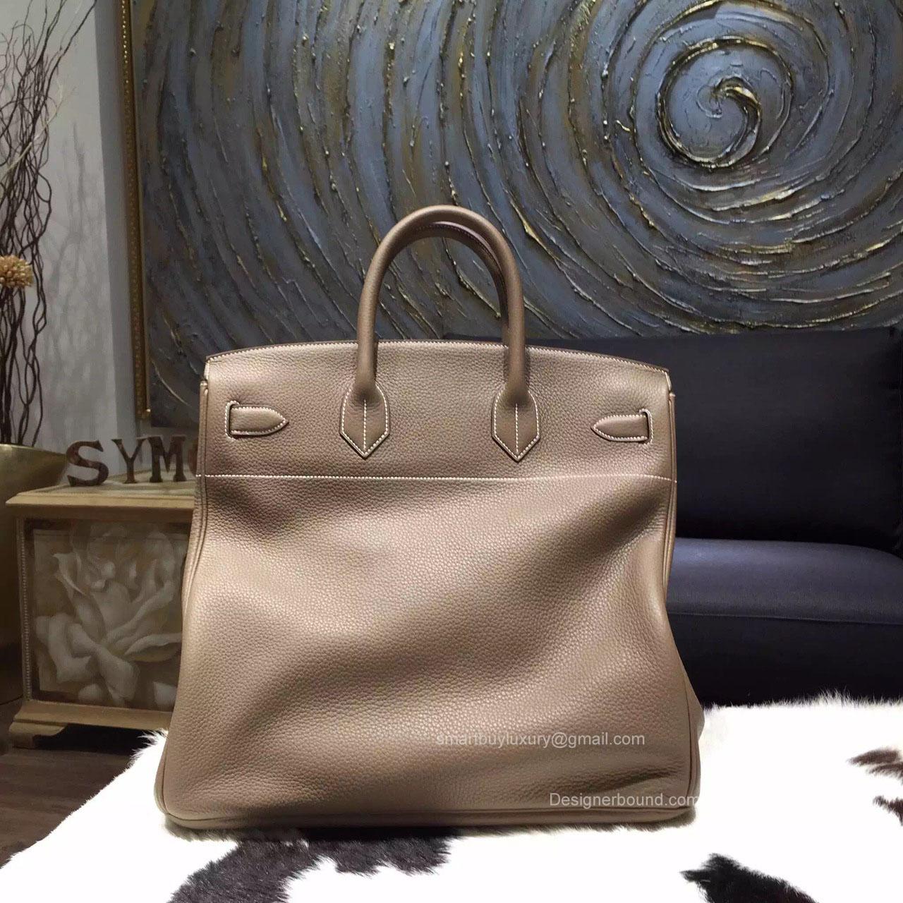 Hermes Birkin Hac 40 Bag Etoupe ck18 Togo Leather Handstitched ...