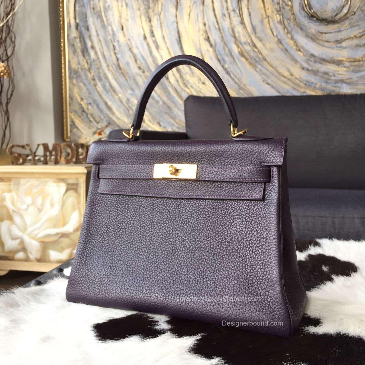 Hermes Kelly 32 Bag Raisin ck59 Togo Leather Handstitched Gold hw -