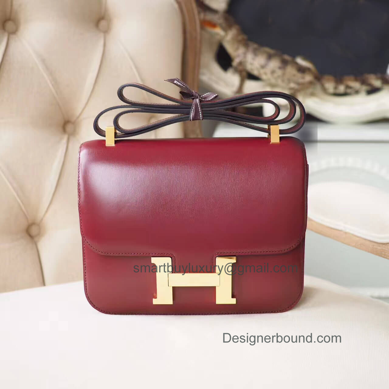 Hermes Constance 23 Bag in ck55 Rouge H Box GHW