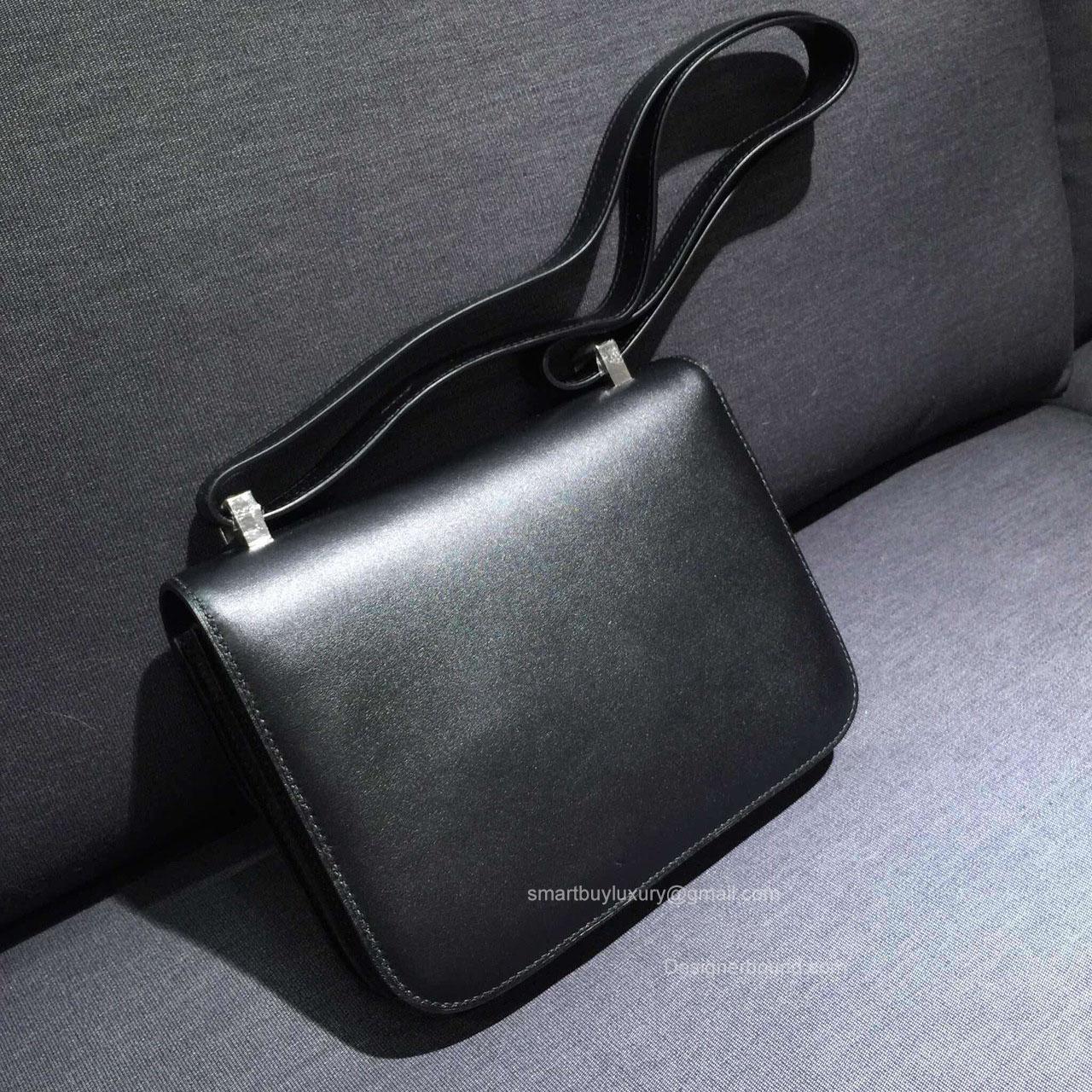 Hermes Constance 23 Bag Black Box Leather Handstitched Silver hw -