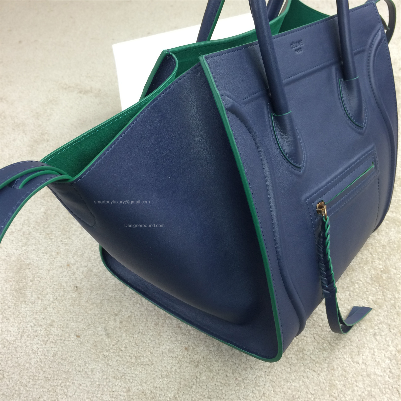 celine phantom luggage navy leather handbag