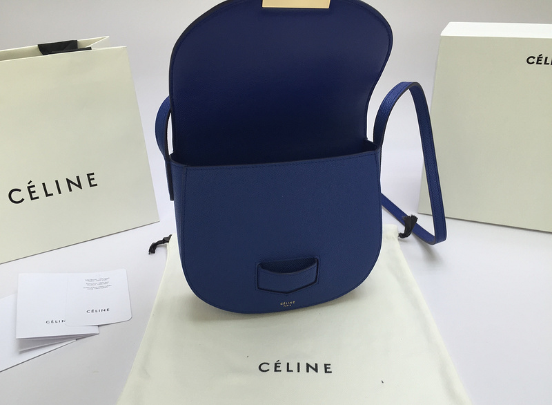 CELINE Drummed Calfskin Small Belt Bag Indigo