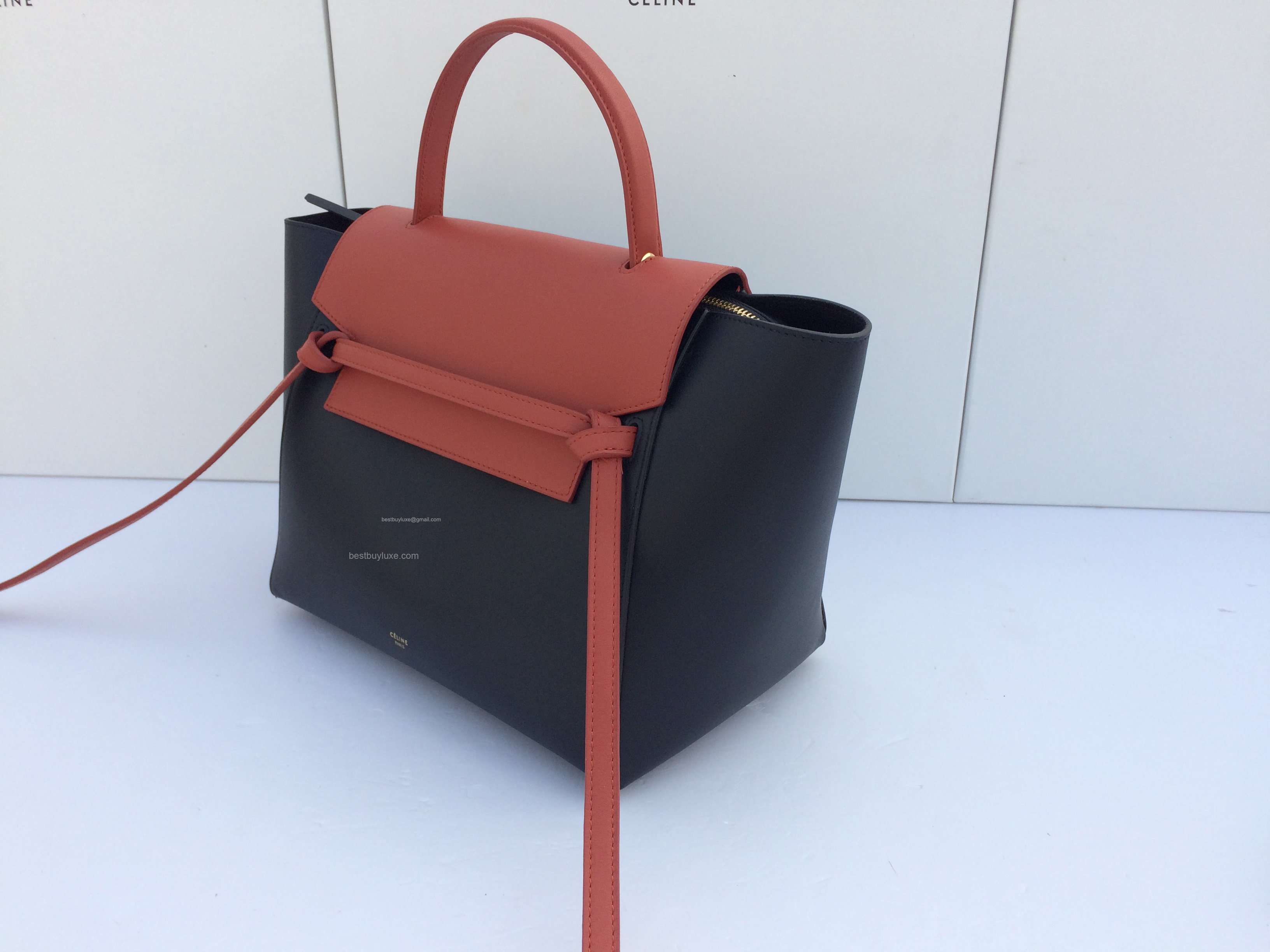 celine mini luggage red leather bag - Super Fake Celine Small Belt Bag In Calfskin Red - Replica Celine