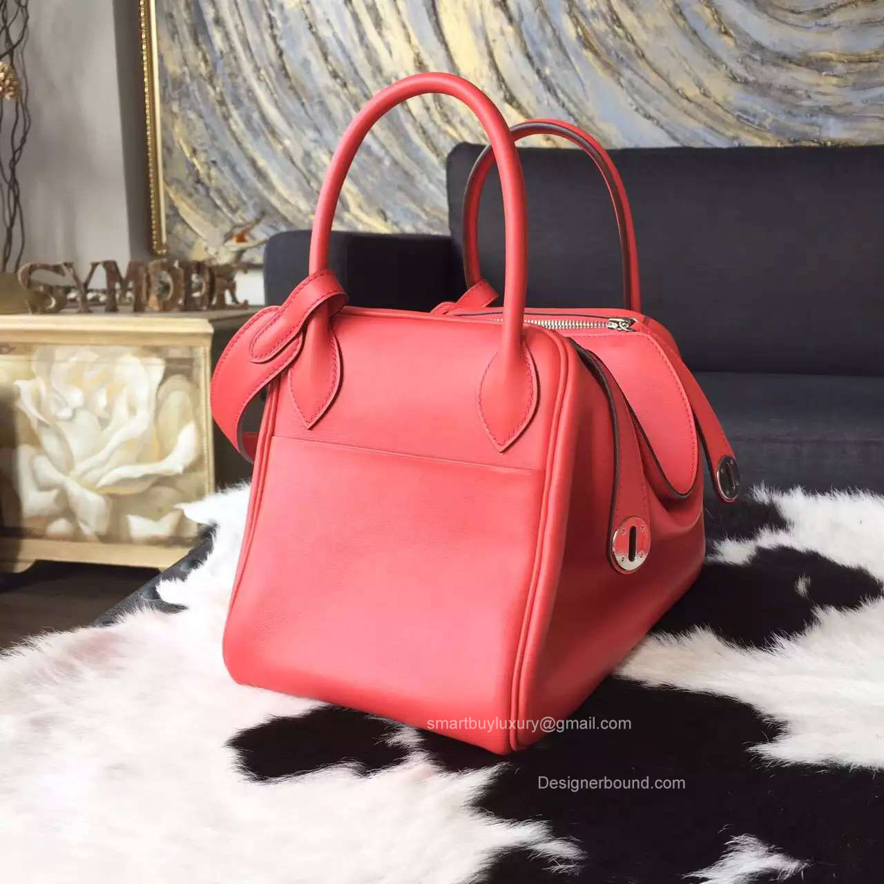 hermes red exotic leathers handbag lindy