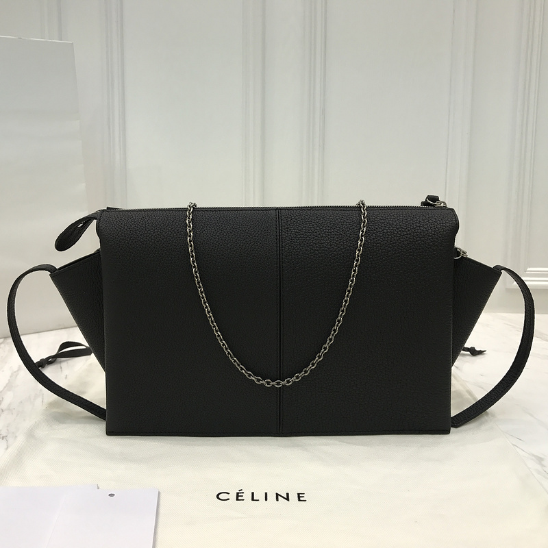 af6130e50d Copy Celine Tri Fold Chain Clutch in Black Baby Grained Calfskin -