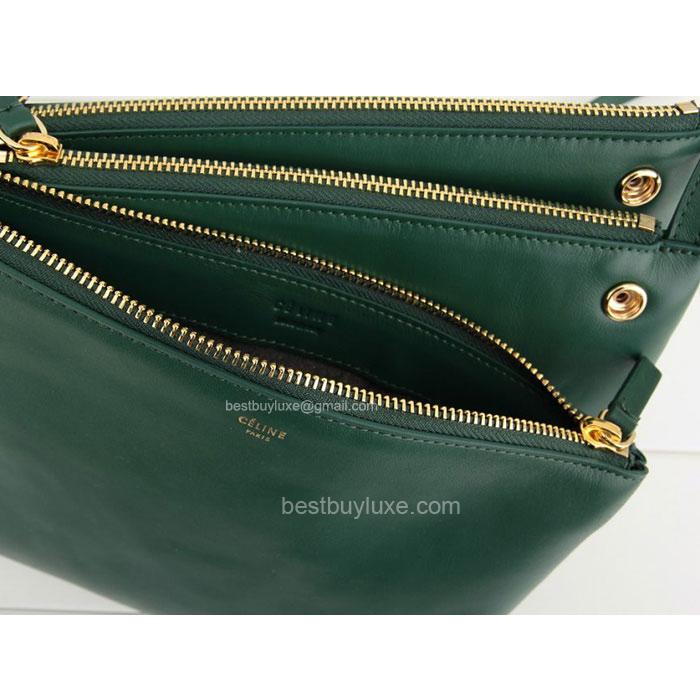 6e159f0a39de Fake Celine Trio Crossbody Bag in Green Calfskin - Replica Celine