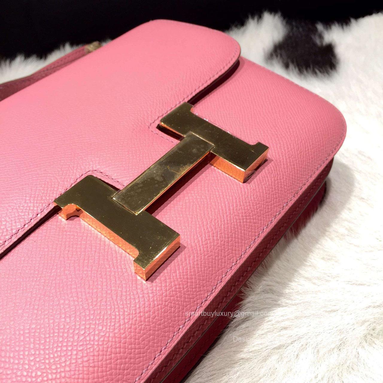 hermes birkin bag outlet - Hermes Constance 23 Bag Pink Epsom Leather Handstitched Gold hw -